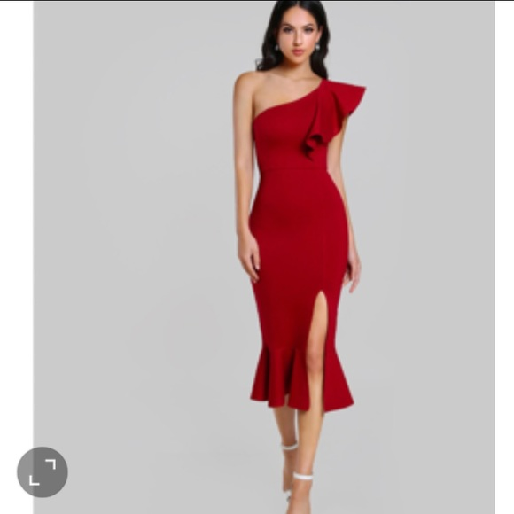 ea41d65cf8 SHEIN Dresses | Sexy Elegant Red Dress Party With One Shoulder ...